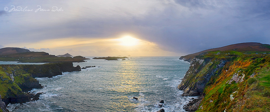 Panoramic Valentia Island Cliffs with view on Great Skelligs by Sunset, Couny Kerry, Ireland / vl070 I love the Skelligs,