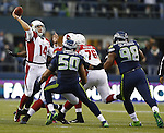 Arizona Cardinals quarterback Ryan Lindley drops back to pass against the Seattle Seahawks at CenturyLink Field in Seattle, Washington on  December 9, 2012.  Skelton completed eight of 17 passes for 59 in the 0-58 loss to the Seahawks.    ©2012. Jim Bryant Photo. All Rights Reserved.