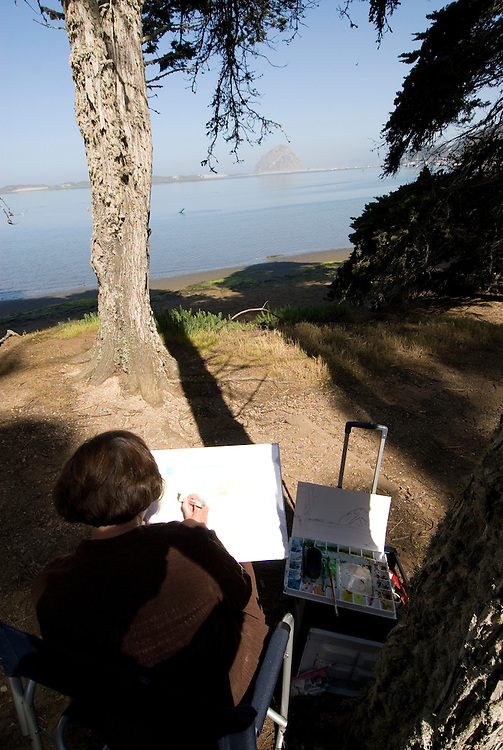 California, San Luis Obispo County: Morro Bay State Park, with Morro Rock, artists painting Morro Rock, rangers leading walks, and a heron rookery..Photo caluis169-71193. .Photo copyright Lee Foster, www.fostertravel.com, 510-549-2202, lee@fostertravel.com