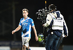 St Johnstone v Rangers&hellip;28.12.16     McDiarmid Park    SPFL<br />Steven MacLean who scored saints equaliser is followed off the pitch by a BT Sport camera crew<br />Picture by Graeme Hart.<br />Copyright Perthshire Picture Agency<br />Tel: 01738 623350  Mobile: 07990 594431