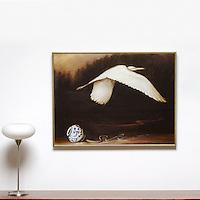 "Kroll: Egret In Flight, Digital Print, Image Dims. 28"" x 38"", Framed Dims. 30"" x 40"""
