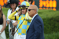 HOT SPRINGS, AR - APRIL 15: Jockey Julien Leparoux with trainer Mark E. Casse before the Arkansas Derby at Oaklawn Park on April 15, 2017 in Hot Springs, Arkansas. (Photo by Justin Manning/Eclipse Sportswire/Getty Images)