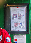 6 September 2014: The game Lineup Card is posted in the dugout prior to a game between the Washington Nationals and the Philadelphia Phillies at Nationals Park in Washington, DC. The Nationals fell to the Phillies 3-1 in the second game of their 3-game series. Mandatory Credit: Ed Wolfstein Photo *** RAW (NEF) Image File Available ***