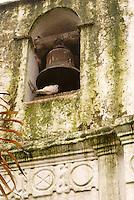 Church bell of Templo El Calvario church in Coban, Alta Verapaz, Guatemala