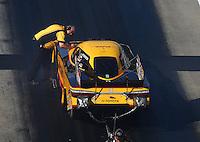 Jun 17, 2016; Bristol, TN, USA; Crew chief Jon Oberhofer with NHRA funny car driver Del Worsham during qualifying for the Thunder Valley Nationals at Bristol Dragway. Mandatory Credit: Mark J. Rebilas-USA TODAY Sports