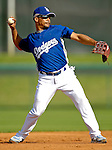 13 March 2007: Los Angeles Dodgers shortstop Rafael Furcal takes fielding practice prior to facing the Detroit Tigers in a spring training game at Holman Stadium in Vero Beach, Florida.<br /> <br /> Mandatory Photo Credit: Ed Wolfstein Photo