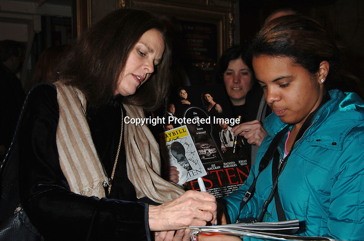 """Ali MacGraw and fans ..at The Broadway opening of """"Festen"""" on April 9, 2006 ..at The Music Box Theatre. The show stars, Ali MacGraw, ..Larry Bryggman, Jeremy Sisto and Julianna Margulies. ..Robin Platzer, Twin Images"""