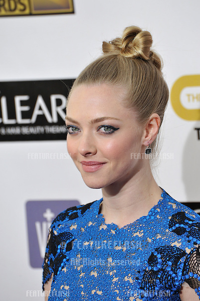 Amanda Seyfried at the 18th Annual Critics' Choice Movie Awards at Barker Hanger, Santa Monica Airport..January 10, 2013  Santa Monica, CA.Picture: Paul Smith / Featureflash