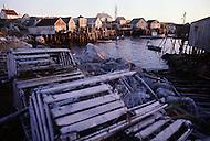 Nova Scotia, Canada, 1967. Lobster traps in Peggys Cove.