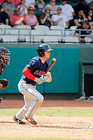 Salem Red Sox second baseman Chad De La Guerra (18) at bat during a game against the Down East Wood Ducks  at Grainger Stadium on April 16, 2017 in Kinston, North Carolina. Salem defeated Down East 9-2. (Robert Gurganus/Four Seam Images)