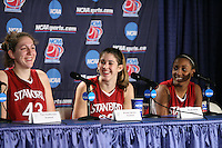 25 March 2006: Kristen Newlin, Brooke Smith and Candice Wiggins during Stanford's 88-74 win over the Oklahoma Sooners during the NCAA Women's Basketball tournament in San Antonio, TX.