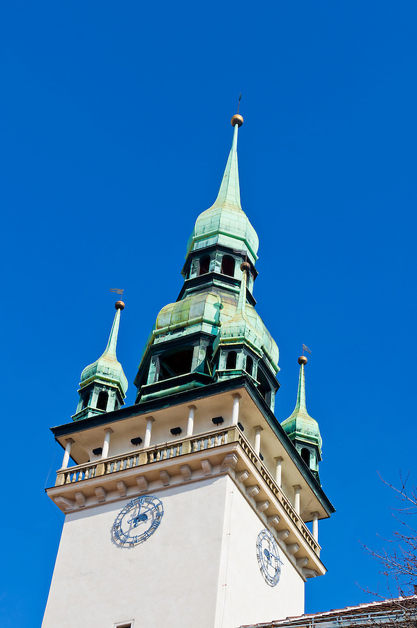 Close Up of dome and clock of tower of the Old Town Hall in Brno. This is a historic building and a very popular destination. Brno is the 2nd largest city in the Czech Republic.