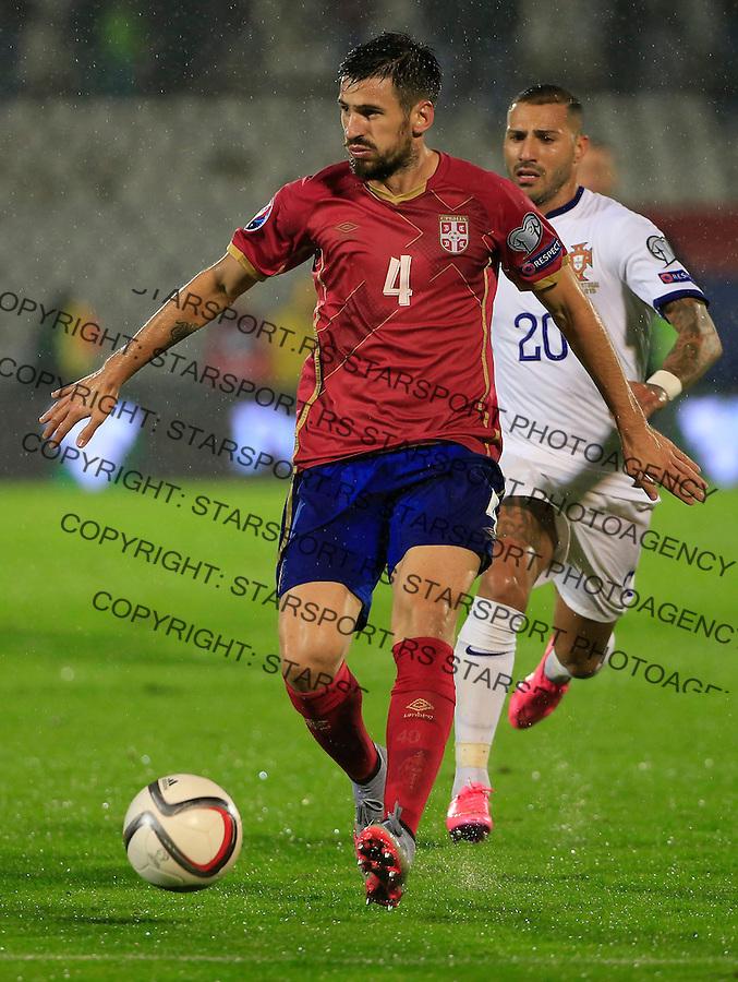 Fudbal, kvalifikacije za UEFA EURO 2016 qualifiers-Qualifying round - Group I<br /> Srbija v Portugal<br /> Nenad Tomovic (L)<br /> Beograd, 11.10.2015.<br /> foto: Srdjan Stevanovic/Starsportphoto &copy;