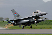 A Dutch F-16 takes off. Nato Tiger Meet is an annual gathering of squadrons using the tiger as their mascot. While originally mostly a social event it is now a full military exercise. Tiger Meet 2012 was held at the Norwegian air base Ørlandet.