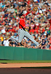 9 June 2012: Washington Nationals second baseman Danny Espinosa jumps high, but is unable to get a liner by Mike Aviles during the 7th inning of a game against the Boston Red Sox at Fenway Park in Boston, MA. The Nationals defeated the Red Sox 4-2 in the second game of their 3-game series. Mandatory Credit: Ed Wolfstein Photo