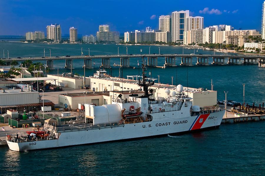 US Coast Guard Boat anchored in Miami Seaport