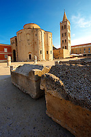 The pre-Romanesque  Byzantine St Donat's Church & the Campinale bell tower of the St Anastasia Cathedral. Zadar, Croatia