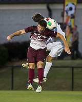 The Winthrop University Eagles played the College of Charleston Cougars at Eagles Field in Rock Hill, SC.  College of Charleston broke the 1-1 tie with a goal in the 88th minute to win 2-1.  Brock King (15), Mason Lavallet (9)
