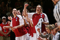 STANFORD, CA - MARCH 22:  Ashley Cimino and Joslyn Tinkle of the Stanford Cardinal during Stanford's 96-67 win over Iowa in the second round of the NCAA Women's Basketball Tournament at Maples Pavilion in Stanford, California.