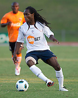 Mustapha Riga of the Bolton Wanferers changes direction in a match against the Charlotte Eagles.  The Charlotte Eagles currently in 3rd place in the USL second division play a friendly against the Bolton Wanderers from the English Premier League.