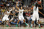 01 APRIL 2012:  Brittney Griner (42) of Baylor University posts up Chiney Ogwumike (13) of Stanford University during the Division I Women's Final Four semifinals at the Pepsi Center in Denver, CO.  Baylor defeated Stanford 59-47 to advance to the championship final.  Jamie Schwaberow/NCAA Photos