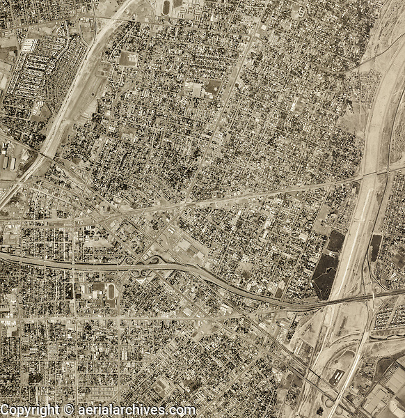 historical aerial photograph El Monte, Los Angeles county, California, 1948