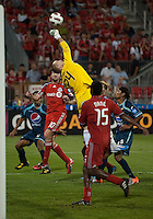 27 July 2010: Toronto FC goalkeeper Stefan Frei #24 makes a save on a corner kick late in the second half during a CONCACAF Preliminary game between Club Deportivo Motagua and Toronto FC at BMO Field in Toronto..Toronto FC won 1-0....
