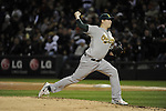 CHICAGO - APRIL 12:  Trevor Cahill #53 of the Oakland Athletics pitches against the Chicago White Sox on April 12, 2011 at U.S. Cellular Field in Chicago, Illinois.  The White Sox defeated the Athletics 6-5.  (Photo by Ron Vesely)  Subject:  Trevor Cahill