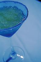 Marguerita Drink in Salt-Rimmed Glass under Blue Light