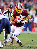 Washington Redskins running back Evan Royster (35) carries the ball in the second quarter against the New England Patriots at FedEx Field in Landover, Maryland on Sunday December 11, 2011..Credit: Ron Sachs / CNP.(RESTRICTION: NO New York or New Jersey Newspapers or newspapers within a 75 mile radius of New York City)