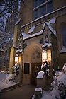 Basilica East door at Christmas