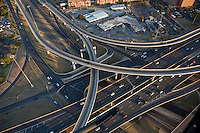 "Aerial view from a helicopter of I-35 and 290 Highway Interchanges ""Spagetti Highway"" in Austin, Texas."