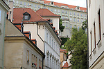 Looking up at Prague Castle in Prague, Czech Republic.