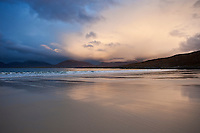 Rain clouds at sunset over Luskentyre beach, Isle of Harris, Outer Hebrides, Scotland
