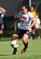 WINSTON-SALEM, NORTH CAROLINA - August 30, 2013:<br /> Charlyn Corral (9) of Louisville University moves the ball forward against Virginia Tech during a match at the Wake Forest Invitational tournament at Wake Forest University on August 30. The game ended in a 1-1 tie.