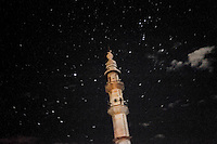 SYRIA - Al Qsair.Night view of a minaret in Al Qsair on January 31, 2012. Al Qsair is a small town of 40000 inhabitants, located 25Km south-west of Homs. The town is besieged since the beginning of November and so far it counts 65 dead. ALESSIO ROMENZI