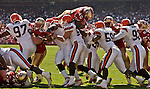 Cleveland Defensive line makes goal line stand to stop San Francisco 49ers full back Fred Beasley (40) on Sunday, September 21, 2003, in San Francisco, California. The Browns defeated the 49ers 13-12.