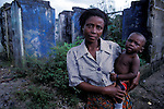 An Ogoni woman in one of the villages destroyed by the Nigerian Military in Ogoni Land. Niger Delta.