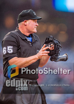 28 April 2016: MLB Umpire Ted Barrett works home plate during a game between the Washington Nationals and the Philadelphia Phillies at Nationals Park in Washington, DC. The Phillies shut out the Nationals 3-0 to sweep their mid-week, 3-game series. Mandatory Credit: Ed Wolfstein Photo *** RAW (NEF) Image File Available ***