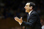 16 January 2016: Duke head coach Mike Krzyzewski. The Duke University Blue Devils hosted the University of Notre Dame Fighting Irish at Cameron Indoor Stadium in Durham, North Carolina in a 2015-16 NCAA Division I Men's Basketball game. Notre Dame won the game 95-91.