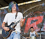 Grouplove singer Christian Zucconi performs at the KROQ Weenie Roast y Fiesta Saturday in Irvine, CA.
