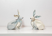 Surface to Structure origami exhibition at Cooper Union, New York. Gallery view. Twin Rabbits designed and folded by Nguyen Hung Cuong 2013