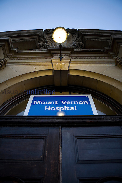 Entrance to Mount Vernon Hospital...Mount Vernon Hospital provides specialist non-surgical cancer services and a burns unit...The Mount Vernon is currently under going a major redevelopment programme developing a new diagnostic and treatment centre, at an estimated cost of £13 million. The centre is planned for completion in 2009. Royalty Free
