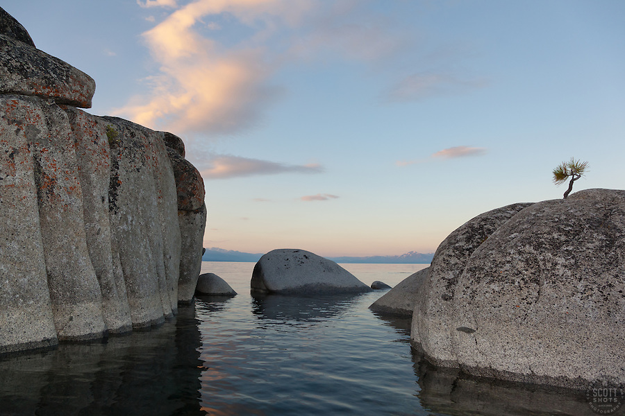 """Tahoe Boulders at Sunrise 11"" - These boulders were photographed at sunrise near Speedboat Beach, Lake Tahoe. Photographed from a kayak."