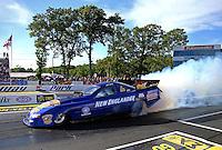 Jun 10, 2016; Englishtown, NJ, USA; NHRA funny car driver Mike Smith during qualifying for the Summernationals at Old Bridge Township Raceway Park. Mandatory Credit: Mark J. Rebilas-USA TODAY Sports