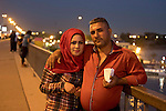 Mcc0070043 . Daily Telegraph<br /> <br /> DT News<br /> <br /> Iraqi's on Jadriyah Bridge in Baghdad on thursday night in the cool of the evening .<br /> There have been a spate of bomb attacks in and around the city in the last two days by ISIS claiming the lives of nearly 100 Iraqis .<br /> <br /> Baghdad 12 May 2016