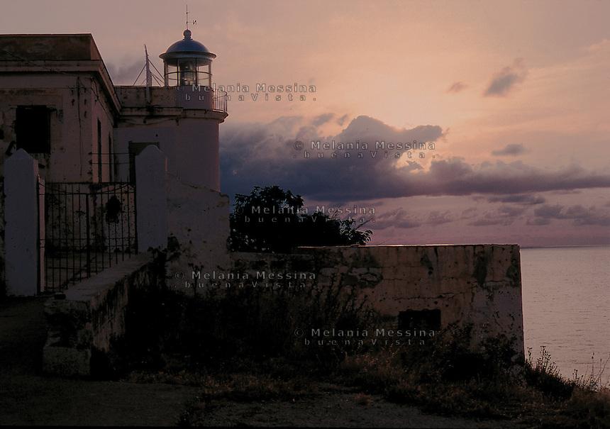 Lighthouse at sunset, Capo Gallo, Mondello; Palermo.<br /> Il faro di Capo Gallo, Palermo.