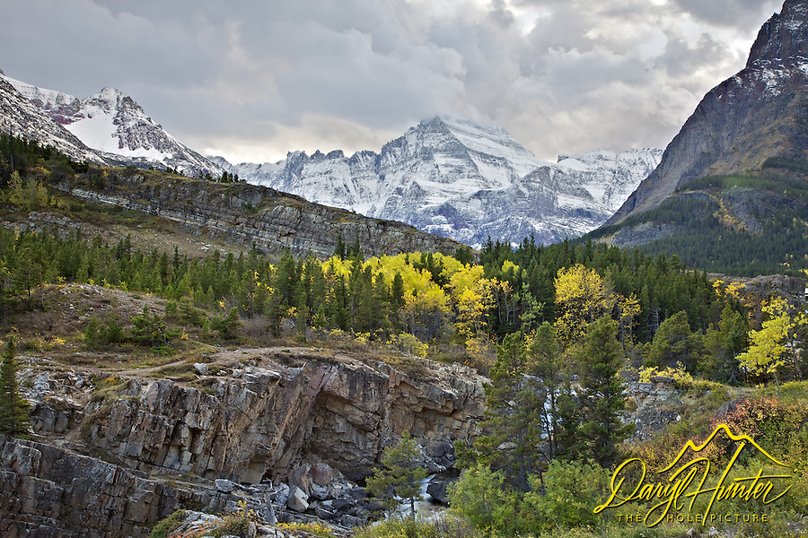 Mt. Gould, Fall colors, stormy sky, Glacier National Park
