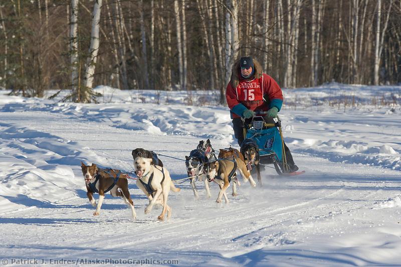 Musher Grahame Howe, 2007 Limited North American Championship Sled dog race in Fairbanks, Alaska.