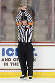 Kevin Keenan signals a penalty shot for Gustav Nyquist. - The Boston College Eagles defeated the visiting University of Maine Black Bears 4-0 on Friday, November 19, 2010, at Conte Forum in Chestnut Hill, Massachusetts.